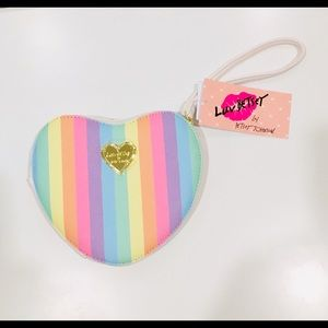Betsey Johnson rainbow heart wristlet wallet